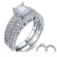 Wholesale simulated diamond ring sets white gold resale online - Luxury Jewelry Custom Ring KT White Gold Filled White Topaz Princess Cut Simulated Diamond Wedding Women Ring Set Gift Size
