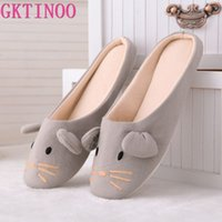 Wholesale animal house slippers for women resale online - GKTINOO Cotton Cute Animal Home Women Slippers Cartoon Winter Indoor Shoes For Girls Ladies Female Warm House Bedroom Floor Flat