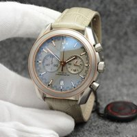 Wholesale quartz tachymeter watch for sale - Group buy 44MM Quartz Chronograph Date Mens Watches Grey Dial Stainless Steel Bracelet Fixed Bezel With A Top Ring Showing Tachymeter Markings