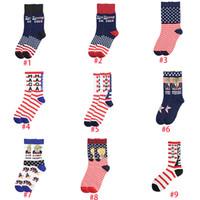 Wholesale striped gym socks resale online - Women Men s Unisex High Heeled Cotton Socks Trump Personalized Letters Casual Sports Socks American Flag Striped Socks boom2017