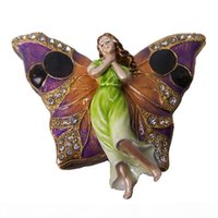 Wholesale metal butterflies crafts for sale - Group buy Fairy butterfly craft bejeweled enamel trinket box rhinestone hinged jewelry box metal home decor Christmas gifts