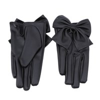Wholesale bow leather gloves resale online - Hot Selling Winter Lady Rivet Butterfly Bow Soft Pu Leather Gloves For Women High Quality Fashion Accessory