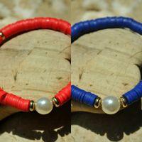 Wholesale agate slice gift resale online - Bohemian beach style pearl female colored soft pottery sliced pearl elastic rope bracelet bracelet female