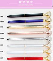 Wholesale Ball Creative Colors Pen Large School With Crystal Big Gem Diamond Supplies Fashion Glass Pen Ballpoint Kawaii Office OHVuu mywjqq