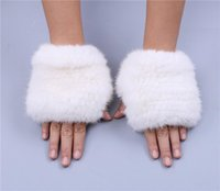 Wholesale hand gloves for girls for sale - Group buy New Winter Fur Fingerless Glove Real Warm Mittens Hand Woven For Lovely Girls Colors