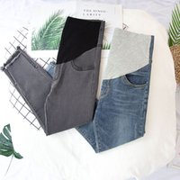 Wholesale maternity jeans resale online - 1846 Autumn Stretch Denim Maternity Skinny Jeans Adjustable Belly Pencil Pants Clothes for Pregnant Women Pregnancy Trousers