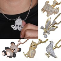 Wholesale animals goats resale online - Gold Plated CZ Cublic Zirconia Bear Eagle Owl Goat Octopus Pendant Chain Necklace Styles Animal Hiphop Jewelry Gifts for Men and Women