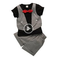 Wholesale fake baby clothing resale online - Gentleman Baby Boys Clothes Fashion Fake Two Pies Latti Serving Baby Clothing Summer Newborn Shirt Short Sleeved Suit Pants pc Sets