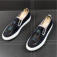 Wholesale shoes young resale online - Luxury fashion party nightclub genuine leather shoes flat platform rivets shoe summer breathable young gentleman loafers W407