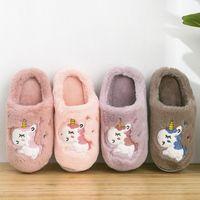Wholesale children house shoes resale online - Winter Unicorn Slippers Kids Toddler Girl Flip Flop Baby Boys Fur Slides Cotton Indoor Shoes Warm Fluffy House Children Slipper