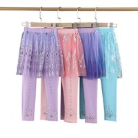 Wholesale girls mesh leggings resale online - Baby Kids Culotte Autumn Cotton Leggings Solid Girl Toddler Culottes Mesh Skirt Pants Skinny Girl Long Leggings Gir lInfant Gifts DHA835
