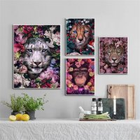 Wholesale paintings white tigers resale online - White Tiger Lion Leopard Fox Orangutan Wall Art Canvas Painting Nordic Posters And Prints Wall Pictures For Living Room Decor