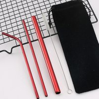 Wholesale colorful straw bag for sale - Group buy Reusable Straw Set BPA Free Portable Striaght Bent Cleaning Brush Colorful Stainless Steel Straw Set Include Bag
