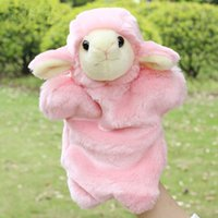 Wholesale pink puppets resale online - Super Kawaii Lamb Sheep Hand Puppets Plush Toys Family Kids Educational Dolls Gift