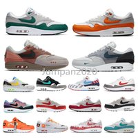 aire 87 al por mayor-Nike air max 1 87 airmax mens trainers sneakers magma orange Snkrs day Trainers Airmax Air Men Max 1 Sneakers evergreen aura Designer shoes 11