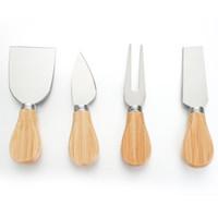 Cheese Knife Set Oak Handle Knife Fork Shovel Kit Graters Baking Cheese Pizza Slicer Cutter Set GWF2022