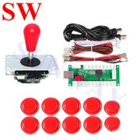 Wholesale for usb arcade joystick for sale - Group buy Red Arcade joystick with Oval Balltop mm mm Arcade push buttons Pin USB Encoder Wire Cable for DIY Kit