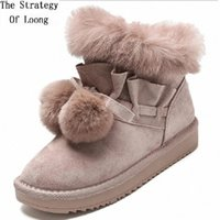 корейский стиль ботильоны оптовых-Women Short Pom Pom Snow Boots 2019 New Korean Style Lady Fur Plush Bowknot Botas Ladies Slip On Plushball Ankle Lazy Boots 1911 aO2X#