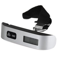 Wholesale hand weigh scales resale online - 50kg Capacity Mini Digital Luggage Scale Hand Held LCD Electronic Échelle Hanging Mini Escala Thermometer Weighing Device Mini Scale