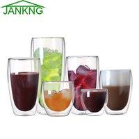 Wholesale jankng for sale - Group buy JANKNG Heat resistant Double Wall Glass Cup Beer Coffee Cup Set Handmade Creative Beer Mug Tea Mugs Transparent