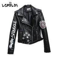 Wholesale faux moto jackets resale online - LORDXX Black Graffiti Leather Jacket Women New Spring Punk Moto Coat Cropped Faux Jackets with belt