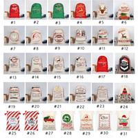 Wholesale 31 style bags resale online - Christmas Gift Bags Santa Sack Drawstring Bag Canvas Santa Sacks Reindeers Santa Claus Deer Bag Christmas Decorations Styles OWE852