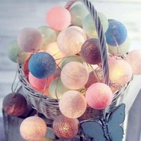 Wholesale string light cotton ball resale online - 3M LED Cotton Ball Garland Lights String Christmas Xmas Outdoor Holiday Wedding Party Baby Bed Fairy Lights Decoration