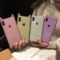 Wholesale lucky cat iphone case for sale – best Cute Lovely Lucky Cat Phone Case Cat Ear TPU Clear Phone Shell Soft Gel Cat Cover for iPhone PLUS XR X MAX