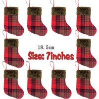 Wholesale small christmas socks resale online - Christmas decorative socks small Plaid Plush Christmas socks gift bag Pendant Christmas bags Party Supplies style EWE787