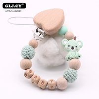 Wholesale cute personalized gifts resale online - Chain Gift Wooden Personalized Child Diy Cute Baby Cartoon Bpa Pattern Holder Pacifier Clips Name Silicone New Koala Free yxlnwU ABC2007