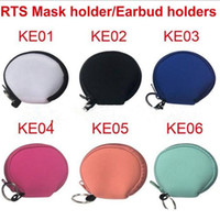 MultiFunction Neoprene Small Coin Purse Face Mask Holder Earphone Bags Zipper printing Purse solid Zipper Coin Pouch YYA440 60pcs