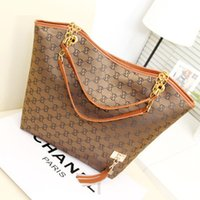 Wholesale handbags made china for sale - Group buy Customized Plus size Womens Handbags Top Tote Purse Letter Printing Brown Leather Flower Shoulder Crossbody Designer Purses Made in China