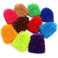Wholesale multi color glove resale online - Chenille gloves Candy color chenille Cleaning gloves High density Coral Washing Gloves Multi use double sided Chenille glove DHD698