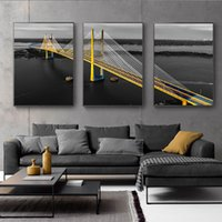 Wholesale arts painting scenery for sale - Group buy Black and White Gold Bridge Landscape Picture Home Decor Nordic Canva Painting Wall Art Yellow Scenery Art Print for Living Room