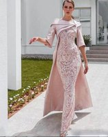 Wholesale half cape for sale - Group buy New Sheath Dubai Evening Dresses with Cape Blush Pink Lace Applique Stain Half Sleeve Prom Dress Floor Length Formal Party Gown