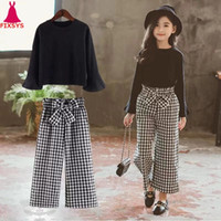Wholesale kids long pants for girls resale online - 2020 Kids Girls Clothes Sets Long Sleeve T shirts Plaid Wide Leg Pants Autumn Children s Clothing Teenage for Years