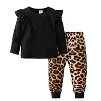Wholesale cool newborn baby clothes resale online - Fashion Cool Clothing Set Cotton Long Sleeve Black Tops Leopard Pants Casual Toddler Newborn Baby Girls Clothes C0922