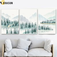 Wholesale cartoon canvas wall decor resale online - Cartoon Forest Mountain River Landscape Wall Art Canvas Painting Nordic Posters And Prints Wall Pictures For Living Room Decor