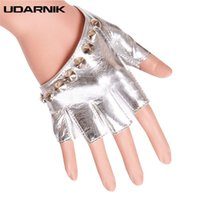 Wholesale faux leather fingerless glove for sale - Group buy Women Half Finger Gloves Rivet Solid Colors Faux Leather Dancer Punk Singer Fingerless Fashion PU Glove