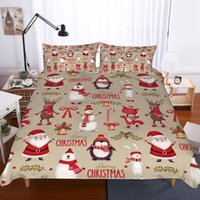 Wholesale super king size 3d bedding sets resale online - BEST WENSD Merry Christmas duvet cover king size sets D Santa Claus duvet cover Pillow Super kin Queen Twin Beds