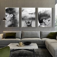 Wholesale art painting beautiful girls pictures resale online - Abstract Beautiful Forest Girl Black and White Painting Canvas Wall Art Posters Print Pictures Modern Picture For Living Room