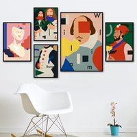 Wholesale artists paint animals resale online - Spoof artist hit color Plaster statue Wall Art Canvas Painting Nordic Posters And Prints Wall Pictures For Living Room Decor