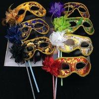 Wholesale venetian wedding masquerade masks resale online - Halloween Masquerade Party Mask Handheld Venetian Mask Half Face Flower Masks Sexy Christmas Dance Wedding Party Costume Mask HWF837
