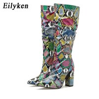 Wholesale distressed boots for sale - Group buy Eilyken Colorful Snake Skin Boots Women High Heels Thick Mid calf Boot Distressed Pointed Toe Zip Shoe Pleated Boots Slouch Y200723
