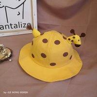Wholesale baby polka dots hat resale online - Baby bucket bucket fisherman fisherman cute children s new cute giraffe shape basin hat polka dot sun hat QCI