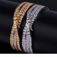 Wholesale men figaro gold resale online - Hip Hop Chain K Gold Electroplated Single Row Square Cubic Zirconia Copper Necklace For Men High Polished Iced Out Shiny Bling Jewelry