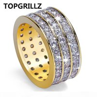 Wholesale bling wedding rings for sale - Group buy New Style Hip Hop Rock Micro Pave Cubic Zircon Ring Full Iced Out Bling Copper Gold Color Rings For Male Jewelry