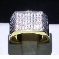 Wholesale diamonique engagement rings wedding sets for sale - Group buy Exquisite Yellow Gold Filled Eternal Wedding Ring Diamonique Cz Finger Rings Jewelry For Men Engagement Gift Size