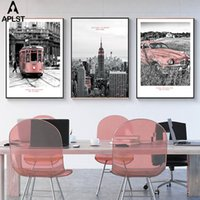 Wholesale modern photography prints resale online - Skyline at Night New York Poster Canvas Print Tram Wall Picture Black and White Countryside Photography Print Modern Home Decor