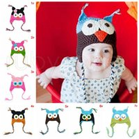 Wholesale crochet baby hats ear flaps for sale - Group buy Children Cartoon Warm Toddler Owl Ear Flap Knitted Hats Infant Baby Handmade Crochet Cute OWL Beanies Party Hats Supplies RRA3467
